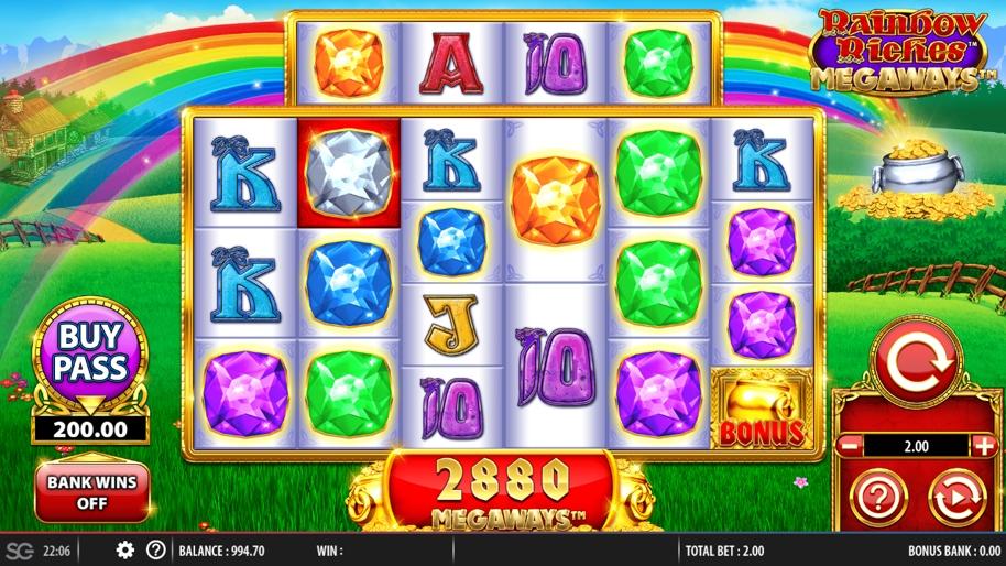 Rainbow Riches Megaways Gameplay